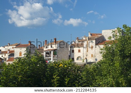 View of several houses in the city of Bale, Istria, Croatia - stock photo