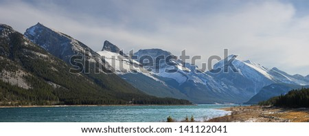 View of several Mountains in the Spray Lake Valley Canmore, Alberta, Canada Mountains, left to right are, Rimwall, Wind Tower Peak, Lougheed, Sparrowhawk - stock photo