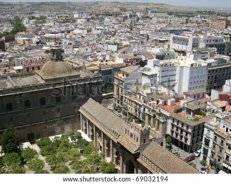 View of Seville, city in southern Spain from high