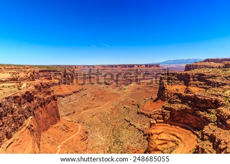 View of Shafer Canyon Overlook in Canyonlands National Park, Utah. - stock photo