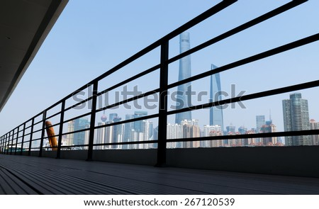 view of shanghai skyline from yacht - stock photo
