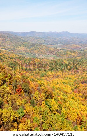View of Shenandoah Valley during Fall season from Skyline Drive in Virginia, USA. - stock photo
