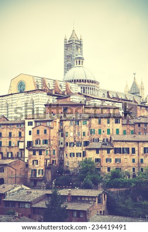 View of Siena in Italy. Retro style filtred image - stock photo