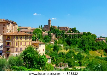 view of Siena town on hills area - stock photo