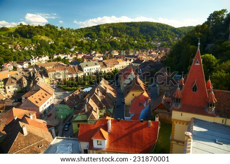 View of Sighisoara, Romania - stock photo