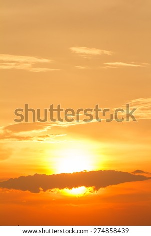 View of silhouette landscape with sunset - stock photo