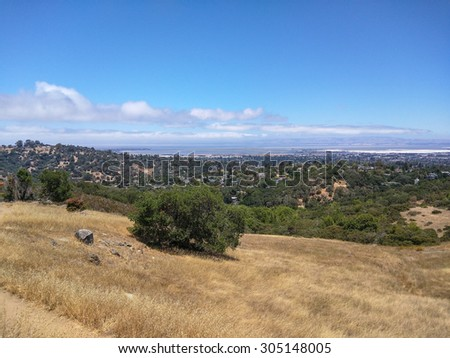 View of Silicon Valley from vista point at Edgewood Park in Redwood City, CA - stock photo