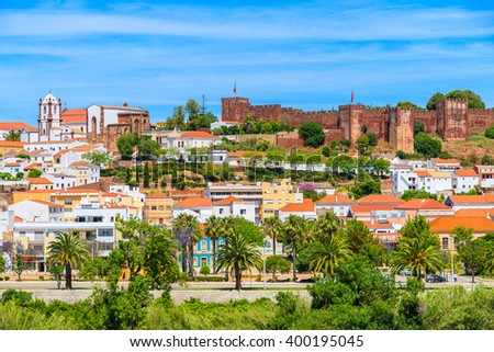 View of Silves town buildings with famous castle and cathedral, Algarve region, Portugal