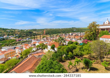 View of Silves town with colorful houses from castle, Algarve region, Portugal - stock photo
