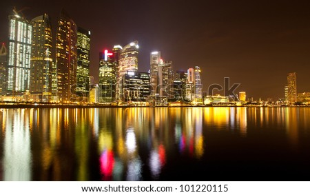 View of Singapore business district Marina Bay, in the night time