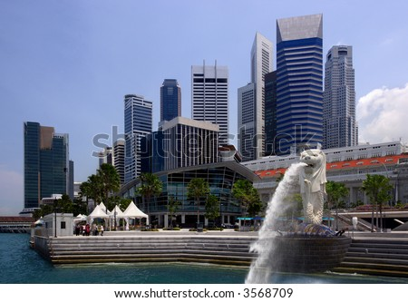 View of Singapore city, harbour, and Singapore Icon.