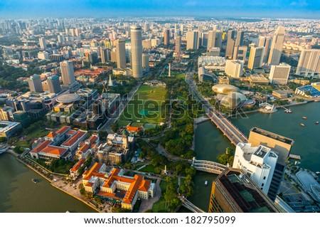 view of Singapore city skyline at sunset.  - stock photo