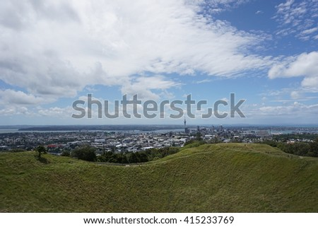 View of Sky Tower from Mount Eden, Auckland - stock photo