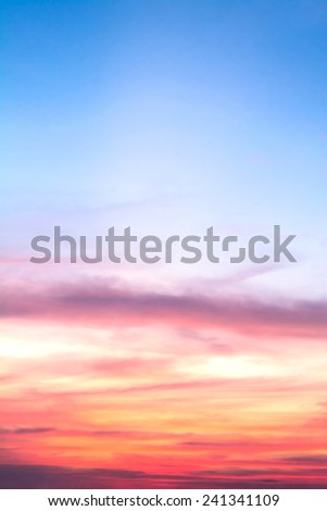 view of sky with clouds in the evening - stock photo