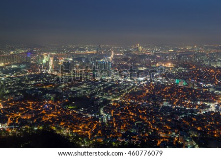 View of skyline in Seoul, South Korea, from above at night.