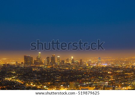 view of skyline of Los Angeles by night