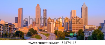 View of skyscrapers in downtown Atlanta, Georgia, USA. - stock photo