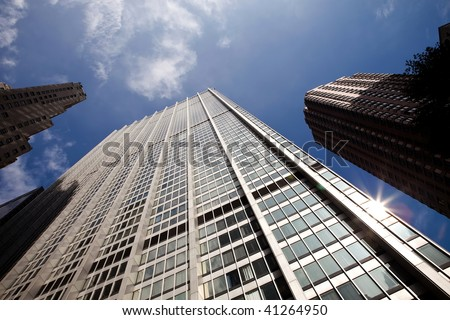 View of skyscrapers in New York City - stock photo