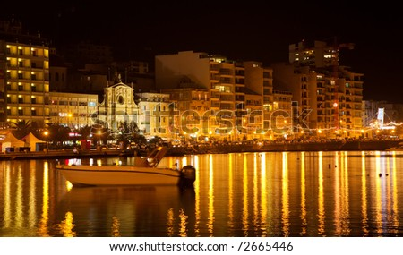 View of Sliema seaside in  night. Malta - stock photo