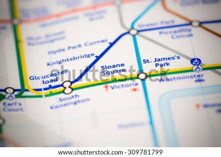 View of Sloane Square station on a London subway map. - stock photo