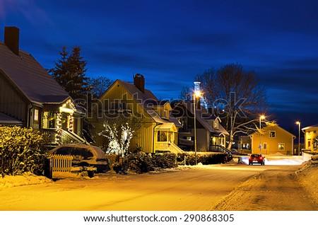 View of small swedish  european  town Soderhamn at christmas night - stock photo