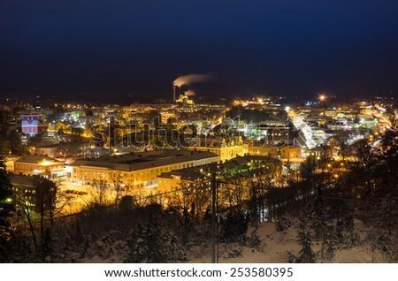 View of small swedish  european  town Soderhamn at night - stock photo