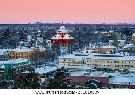 View of small swedish  european  town Soderhamn at sunrise - stock photo