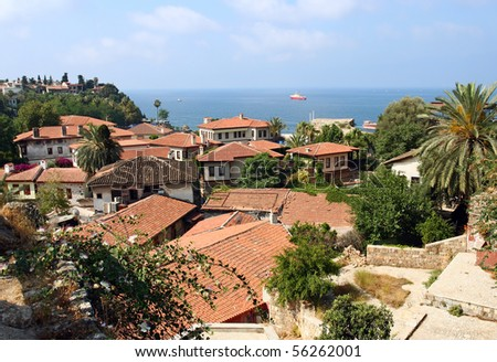 View of small village on the Mediterranean coast, Turkey, with the Mediterranean sea in the background