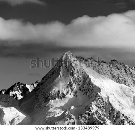 View of snow-covered mountains of a valley of Zillertal - Mayrhofen, Austria (black and white) - stock photo