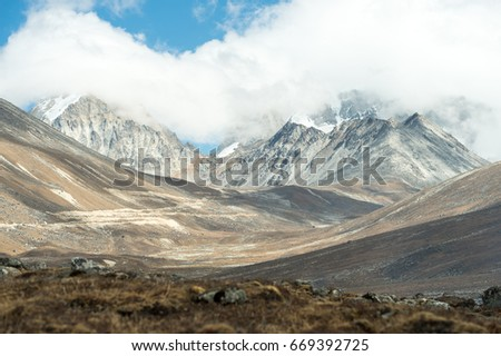 View of snow mountain in North Sikkim, India.