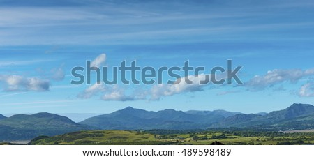 View of Snowdon Mountain, from Harlech Castle,  Gwynedd, North West Wales, UK