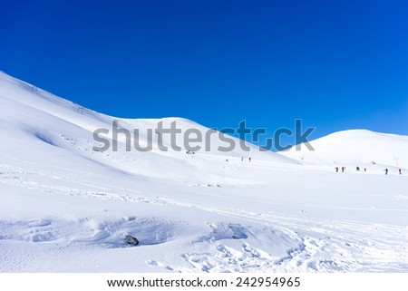 View of snowed mountain Falakro, in Greece.