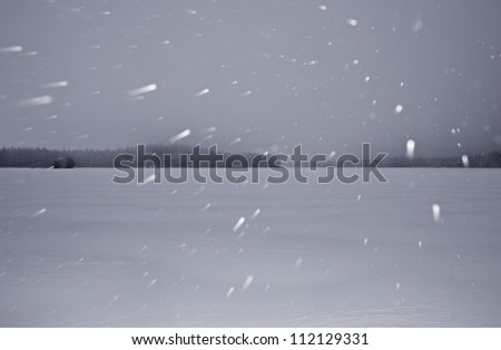 View of snowfall - stock photo