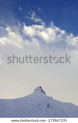view of snowy mountains in Ossau Valley, France. - stock photo