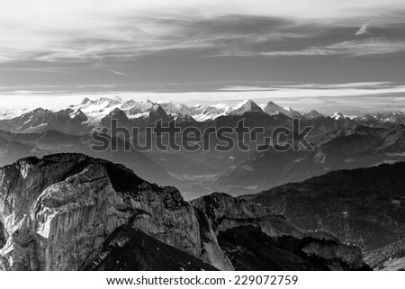 View of Snowy Swiss Alps from Mt. Pilatus in Lucerne, Switzerland  - stock photo
