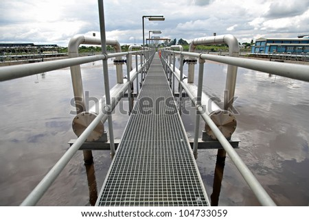 View of some water treatment plant facilities. - stock photo