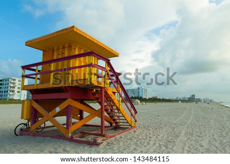 View of South Beach from Lifeguard Station early in the morning before the crowds. - stock photo