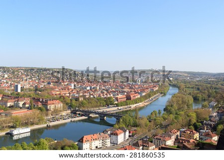View of south Wurzburg, Germany with Main bridge - stock photo
