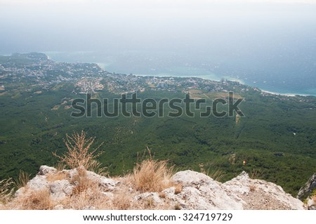 View of southern seashore of Crimea from the top of Ai-Petri mountain - stock photo