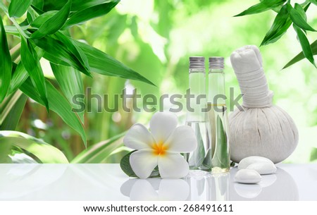 view of spa theme object on color background - stock photo
