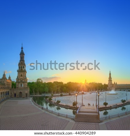 View of Spain Square (Plaza de Espana) on sunset, landmark in Renaissance Revival style, Seville, Andalusia, Spain. - stock photo