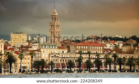 View of Split is the second-largest city of Croatia with heavy clouds. Shore of the Adriatic Sea and famous Palace of the Emperor Diocletian - archaeological gem and a must-see for everyone - stock photo