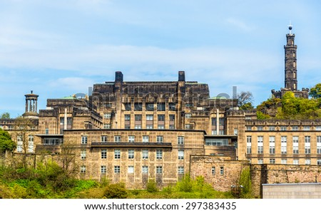View of St. Andrew's House on Calton Hill in Edinburgh - stock photo