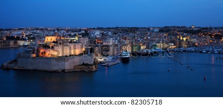 View of St. Angelo Fort and Dockyard Creek in  night. Malta - stock photo
