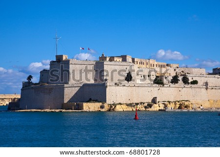 View of St. Angelo Fort  in Vittoriosa. Malta