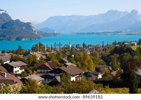 view of St.Gilgen village and Wolfgangsee lake, Austria