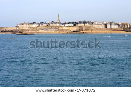 View of St. Malo from Dinard (Brittany, France). - stock photo