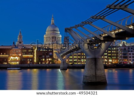 View of St. Paul's Cathedral from the South Bank of the River Thames in London