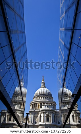View of St. Paul's Cathedral in London. - stock photo