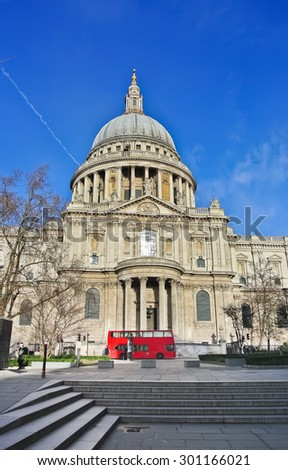 View of St Paul's Cathedral in London - stock photo